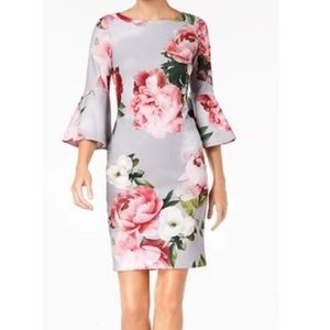 Calvin Klein Floral Print Bell-Sleeve Dress